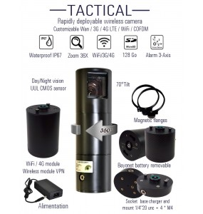 OBSERVER PTZ telescope Camera wireless 4G LTE wifi rapidly deployable built in battery