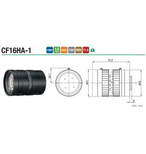 """CF16HA-1 Objectif industriel industriel 1 """"16 mm pour caméras de vision industrielle monture C"""