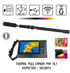 Tactical telescopic pole thermal camera FLIR Lepton® 360°, Inspection motorized Camera Telescopic Pole Pan & Tilt Pole System