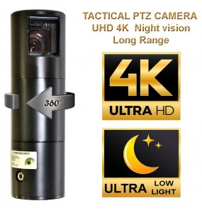 Camera tactique PTZ tactique 8K UHD Ultra Low light Night vision extérieur étanche
