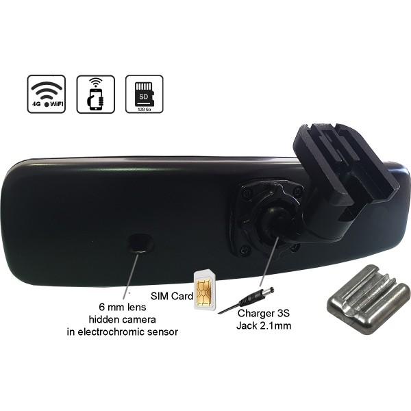 RETRO4G retroviseur camera espion transmission WiFi 4G LTE Micro-SD