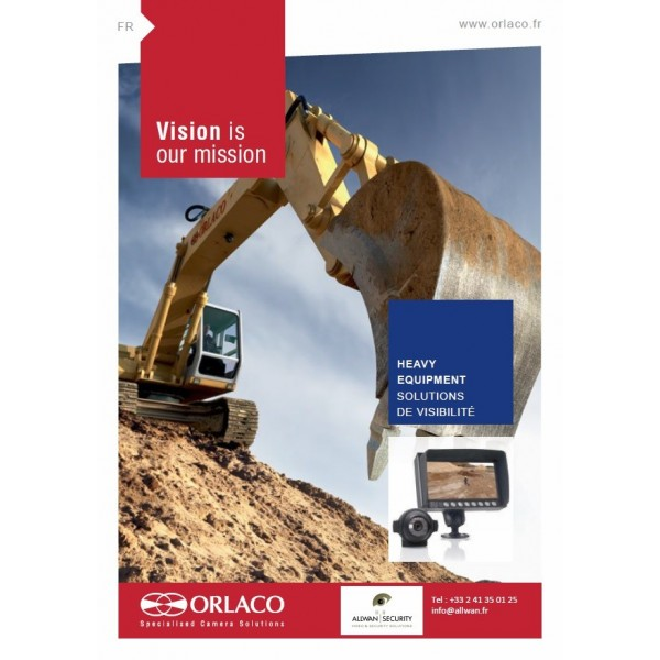 CATALOGUE ORLACO ENGINS TP, CAMERA PELLE, CAMERA RECUL PELLE, VIDEO PELLETEUSE, CAMERA RECUL TRAVAUX PUBLICS